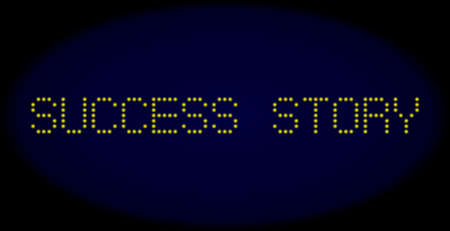 Success Story caption in LED style with round glowing dots. Vector illuminated yellow letters forms Success Story caption on a dark blue background. Digital font with round elements.