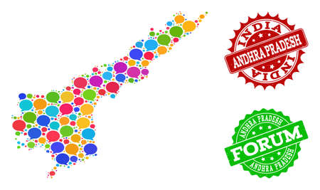 Social network map of Andhra Pradesh State and scratched stamp seals in red and green colors. Mosaic map of Andhra Pradesh State is created with talk clouds. 일러스트