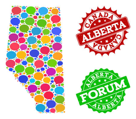 Social network map of Alberta Province and scratched stamp seals in red and green colors. Mosaic map of Alberta Province is designed with media messages. Flat design elements for social purposes.