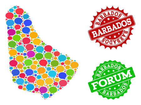 Social network map of Barbados and grunge stamp seals in red and green colors. Mosaic map of Barbados is composed with chat clouds. Abstract design elements for social network applications.