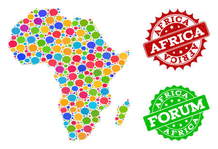 Social network map of Africa and grunge stamp seals in red and green colors. Mosaic map of Africa is created with blog clouds. Flat design elements for social network illustrations.