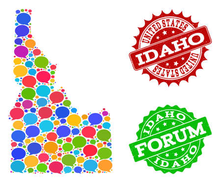 Social network map of Idaho State and distress stamp seals in red and green colors. Mosaic map of Idaho State is created with blog bubbles. Abstract design elements for social network projects.