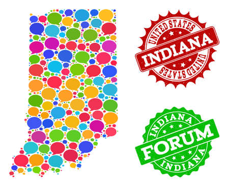 Social network map of Indiana State and distress stamp seals in red and green colors. Mosaic map of Indiana State is formed with speak messages. Flat design elements for social network projects. Illustration