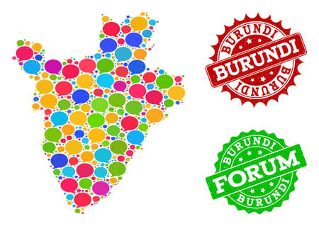 Social network map of Burundi and distress stamp seals in red and green colors. Mosaic map of Burundi is created with speak bubbles. Flat design elements for social network illustrations.