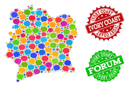 Social network map of Ivory Coast and grunge stamp seals in red and green colors. Mosaic map of Ivory Coast is formed with word clouds. Abstract design elements for social network purposes.