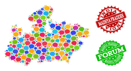 Social network map of Madhya Pradesh State and scratched stamp seals in red and green colors. Mosaic map of Madhya Pradesh State is formed with communication clouds.