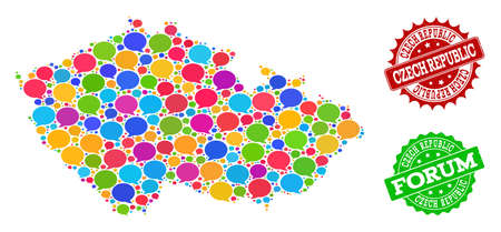 Social network map of Czech Republic and grunge stamp seals in red and green colors. Mosaic map of Czech Republic is formed with word clouds. Flat design elements for internet posters. Illustration