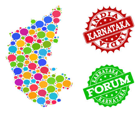 Social network map of Karnataka State and distress stamp seals in red and green colors. Mosaic map of Karnataka State is composed with dialog clouds. Illustration
