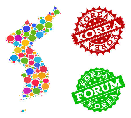 Social network map of Korea and scratched stamp seals in red and green colors. Mosaic map of Korea is composed with tag bubbles. Abstract design elements for social network applications. Vectores