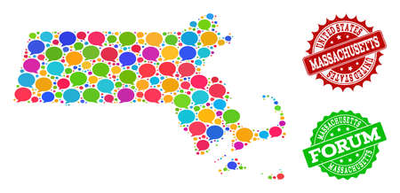 Social network map of Massachusetts State and rubber stamp seals in red and green colors. Mosaic map of Massachusetts State is formed with comment messages.