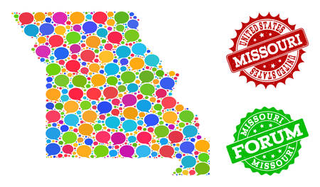 Social network map of Missouri State and rubber stamp seals in red and green colors. Mosaic map of Missouri State is composed with communication bubbles.