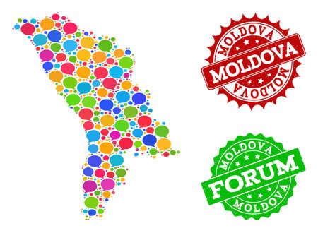 Social network map of Moldova and distress stamp seals in red and green colors. Mosaic map of Moldova is created with speak bubbles. Flat design elements for social network purposes.