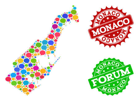 Social network map of Monaco and grunge stamp seals in red and green colors. Mosaic map of Monaco is designed with tag bubbles. Abstract design elements for social network projects.