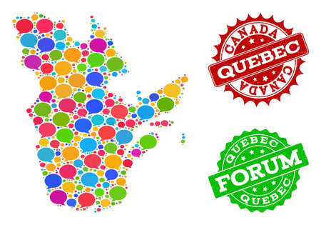 Social network map of Quebec Province and scratched stamp seals in red and green colors. Mosaic map of Quebec Province is formed with discussion bubbles. Flat design elements for social applications.