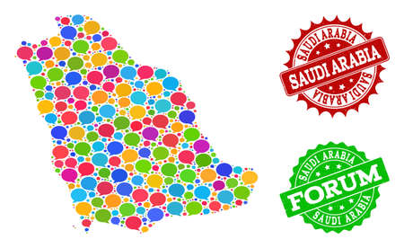 Social network map of Saudi Arabia and scratched stamp seals in red and green colors. Mosaic map of Saudi Arabia is created with comment bubbles. Flat design elements for social network projects. Vectores