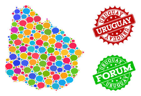 Social network map of Uruguay and scratched stamp seals in red and green colors. Mosaic map of Uruguay is formed with chat clouds. Flat design elements for social network illustrations.