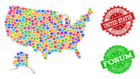 Social network map of USA and Alaska and scratched stamp seals in red and green colors. Mosaic map of USA and Alaska is formed with comment bubbles.  イラスト・ベクター素材