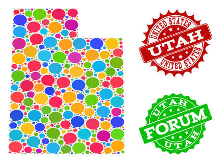 Social network map of Utah State and grunge stamp seals in red and green colors. Mosaic map of Utah State is composed with comment clouds. Abstract design elements for social network projects.