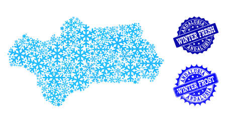 Freezing map of Andalusia Province and rubber stamp seals in blue colors with Winter Fresh and Winter Frost texts. Mosaic map of Andalusia Province is created with ice elements.