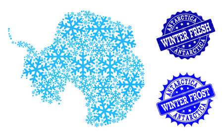 Freezing map of Antarctica and grunge stamp seals in blue colors with Winter Fresh and Winter Frost texts. Mosaic map of Antarctica is designed with ice elements.