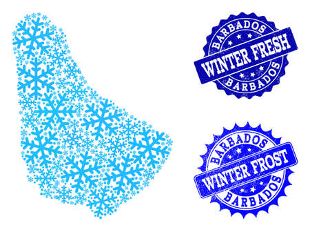 Icy map of Barbados and grunge stamp seals in blue colors with Winter Fresh and Winter Frost titles. Mosaic map of Barbados is formed with ice elements. Illustration