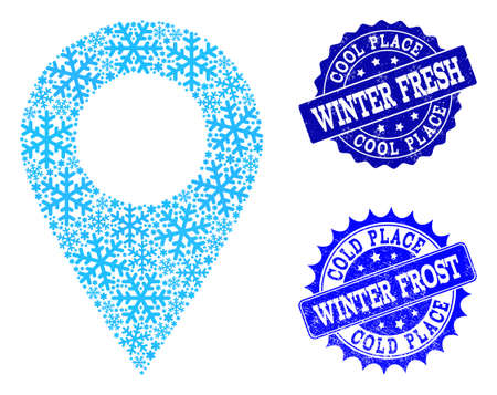 Snowflake local place and distress stamp seals in blue colors with Winter Fresh and Winter Frost texts. Mosaic local place is designed with ice elements.
