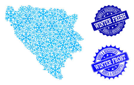 Freezing map of Bosnia and Herzegovina and scratched stamp seals in blue colors with Winter Fresh and Winter Frost texts. Mosaic map of Bosnia and Herzegovina is formed with ice elements. Ilustração