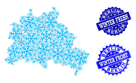 Freeze map of Berlin City and rubber stamp seals in blue colors with Winter Fresh and Winter Frost titles. Mosaic map of Berlin City is formed with ice elements. Ilustração