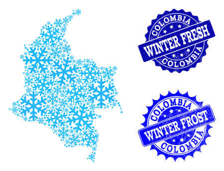 Snow map of Colombia and rubber stamp seals in blue colors with Winter Fresh and Winter Frost titles. Mosaic map of Colombia is designed with snow flakes. Ilustrace