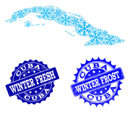 Freeze map of Cuba Island and grunge stamp seals in blue colors with Winter Fresh and Winter Frost captions. Mosaic map of Cuba Island is designed with ice elements.  イラスト・ベクター素材
