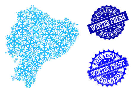 Freezing map of Ecuador and scratched stamp seals in blue colors with Winter Fresh and Winter Frost titles. Mosaic map of Ecuador is created with ice elements.