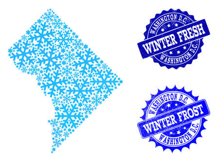 Frozen map of District Columbia and grunge stamp seals in blue colors with Winter Fresh and Winter Frost captions. Mosaic map of District Columbia is formed with frozen water items.