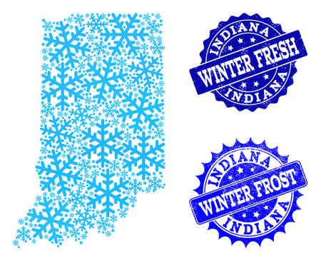 Snowflake map of Indiana State and distress stamp seals in blue colors with Winter Fresh and Winter Frost captions. Mosaic map of Indiana State is created with ice elements. Illustration