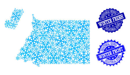 Snowflake map of Equatorial Guinea and distress stamp seals in blue colors with Winter Fresh and Winter Frost texts. Mosaic map of Equatorial Guinea is designed with ice elements.