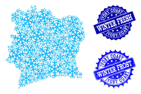 Snow map of Ivory Coast and scratched stamp seals in blue colors with Winter Fresh and Winter Frost captions. Mosaic map of Ivory Coast is composed with snow flakes. 写真素材 - 126705157