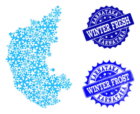 Icy map of Karnataka State and grunge stamp seals in blue colors with Winter Fresh and Winter Frost titles. Mosaic map of Karnataka State is created with icy parts.