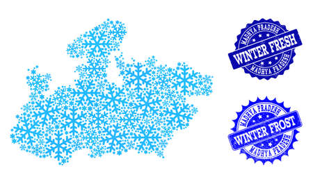 Snowed map of Madhya Pradesh State and scratched stamp seals in blue colors with Winter Fresh and Winter Frost texts. Mosaic map of Madhya Pradesh State is formed with ice elements. Illustration