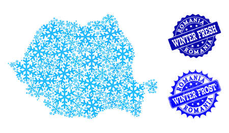 Snowed map of Romania and rubber stamp seals in blue colors with Winter Fresh and Winter Frost titles. Mosaic map of Romania is formed with ice elements. 向量圖像