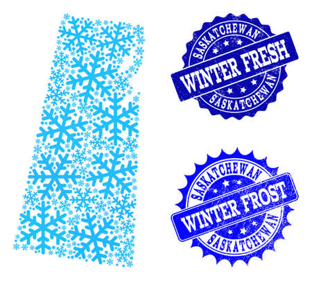 Frozen map of Saskatchewan Province and grunge stamp seals in blue colors with Winter Fresh and Winter Frost titles. Mosaic map of Saskatchewan Province is formed with frozen water items. Illustration