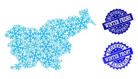 Snow map of Slovenia and rubber stamp seals in blue colors with Winter Fresh and Winter Frost titles. Mosaic map of Slovenia is formed with ice elements. Ilustração
