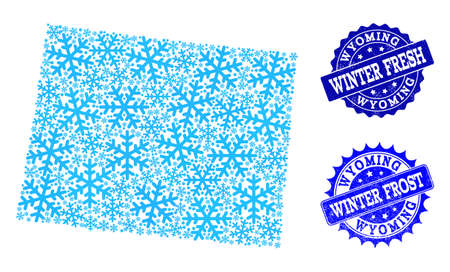 Snowed map of Wyoming State and distress stamp seals in blue colors with Winter Fresh and Winter Frost texts. Mosaic map of Wyoming State is designed with ice elements.