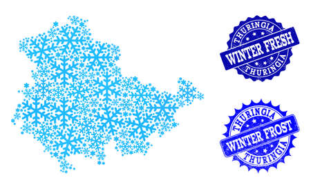 Icy map of Thuringia State and rubber stamp seals in blue colors with Winter Fresh and Winter Frost captions. Mosaic map of Thuringia State is created with icy parts.