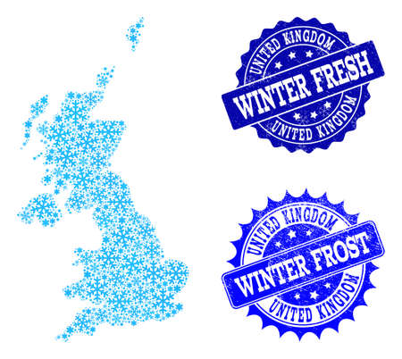 Snowflake map of United Kingdom and distress stamp seals in blue colors with Winter Fresh and Winter Frost titles. Mosaic map of United Kingdom is formed with ice elements.  イラスト・ベクター素材