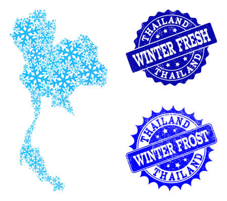 Freeze map of Thailand and distress stamp seals in blue colors with Winter Fresh and Winter Frost captions. Mosaic map of Thailand is composed with snow flakes.