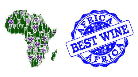 Vector collage of grape wine map of Africa and grunge seal for best wine. Map of Africa collage formed with bottles and grape berries.