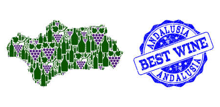 Vector collage of grape wine map of Andalusia Province and grunge seal stamp for best wine. Map of Andalusia Province collage created with bottles and grape berries.
