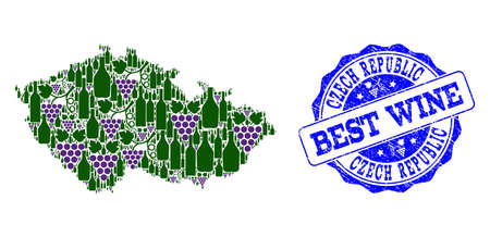 Vector collage of grape wine map of Czech Republic and grunge seal for best wine. Map of Czech Republic collage created with bottles and grape berries.
