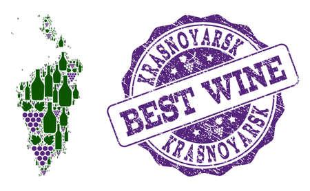 Vector collage of grape wine map of Krasnoyarskiy Kray and grunge stamp for best wine. Map of Krasnoyarskiy Kray collage designed with bottles and grape berries.