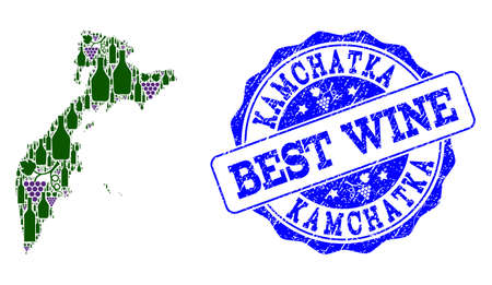 Vector collage of grape wine map of Kamchatka Peninsula and grunge stamp for best wine. Map of Kamchatka Peninsula collage designed with bottles and grape berries.