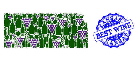 Vector collage of grape wine map of Kansas State and grunge seal stamp for best wine. Map of Kansas State collage designed with bottles and grape berries.
